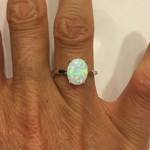 Jewelry - Sterling Silver Solitaire White Lab Opal Ring