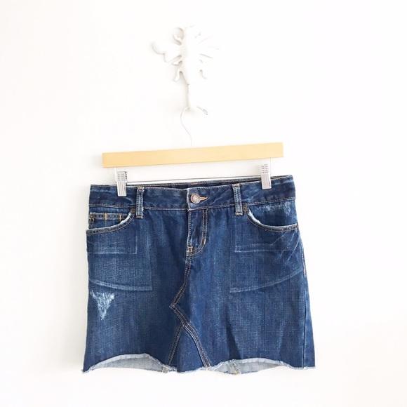 GAP Dresses & Skirts - Gap Dark Wash Distressed Denim Mini Skirt