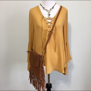 Timing Tops - Mustard Yellow Peasant Top by Timing Bell Sleeves