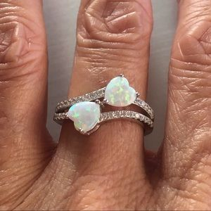 Jewelry - Sterling Silver White Lab Opal Double Heart Ring