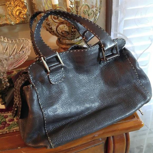 32dcc0072ace Fendi Handbags - FENDI SELLERIA LEATHER HAND MADE SATCHEL BAG
