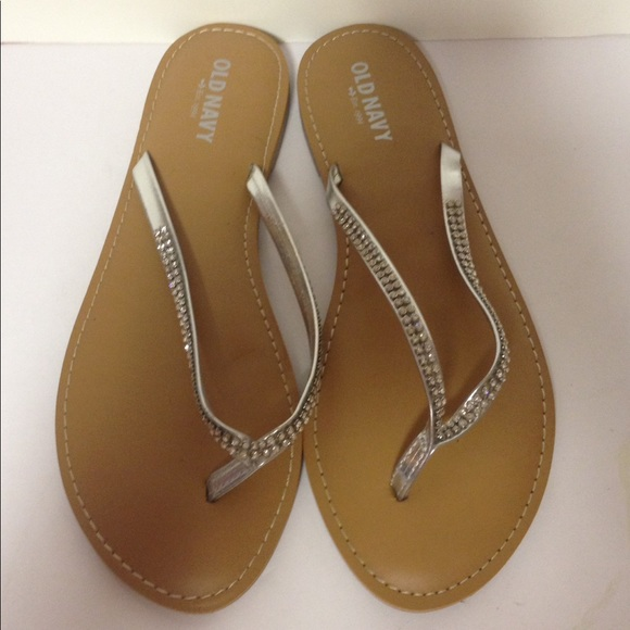 Old Navy Shoes  Silver Bling Flip Flops 8  Poshmark-1501