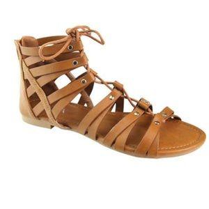 Tan lace up gladiator sandal