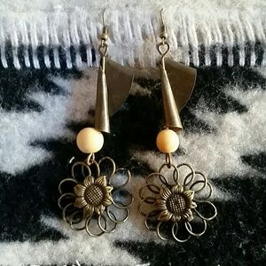 Boho Gypsy Sisters Jewelry - Bronze Boho Dangly Sunflower and Scroll Earrings