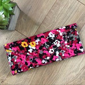 Lulu Townsend Handbags - LULU TOWNSEND Pink & Red Floral Envelope Clutch