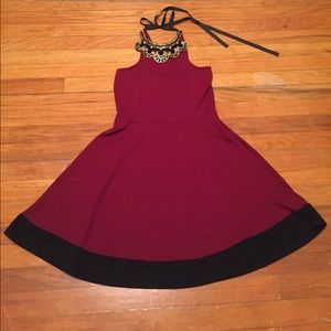 A3 Design Dresses & Skirts - Maroon Dress with Jewled Neckline | Size M