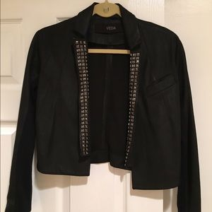 Veda Leather Cropped Studded Jacket