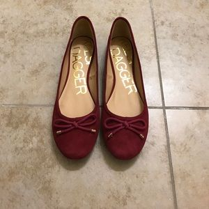 Kelsi Dagger Shoes - Burgundy, wine ballet flats, Size 9.5
