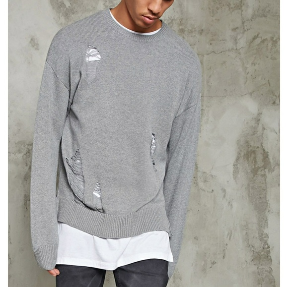 21men Other - New Heather Grey Distressed Ripped Sweater S Gray