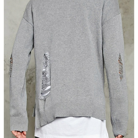 Forever 21 Sweaters - New Heather Grey Distressed Ripped Sweater S Gray