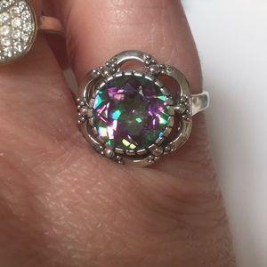 Rainbow topaz ring size 8 925 filigree design