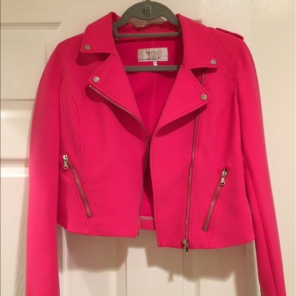 Zara Jackets & Blazers - Hot Pink Motorcycle Jacket