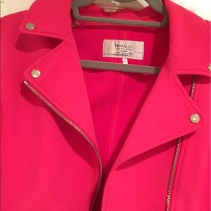 Zara Jackets & Coats - Hot Pink Motorcycle Jacket