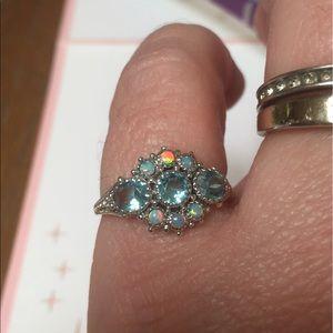 Aquamarine and opal ring Edwardian size 8