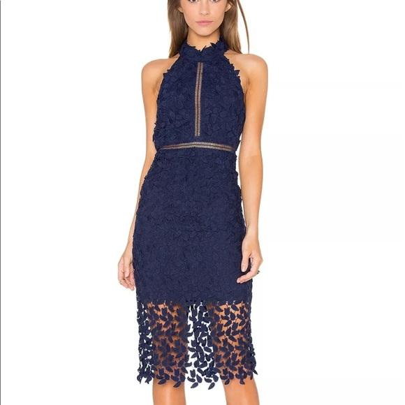06c58ab4c591 BARDOT Gemma Lace Halter Midi Dress Navy Blue