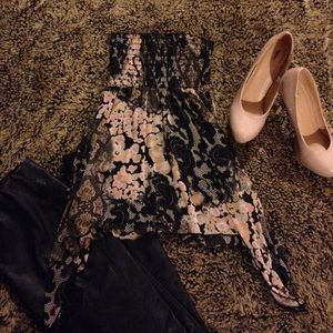 Charlotte Russe Tops - Floral Black, Nude, and Peach Tube Top