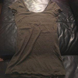 Tops - Army green, deep neck shirt