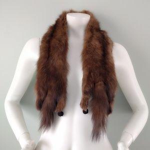 VTG Real Fox Fur Tail Brown Scarf Shawl Collar