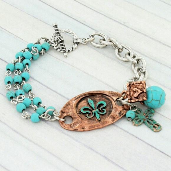 Fleur De Lis Charm Bracelet: Turquoise Fleur De Lis Charm Toggle