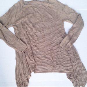 Belldini Tops - Belldini open knit shark bite hem tunic sweater