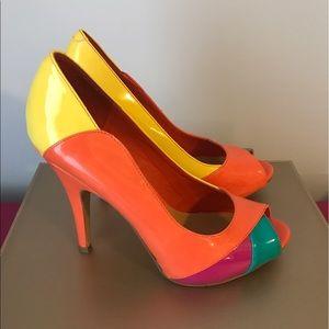 Nine West Shoes - Nine West Vibrant Colorblock Peeptoe Pumps
