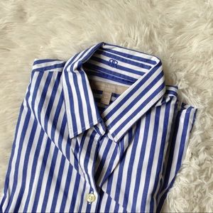 BANANA REPUBLIC blue+white stripe slim button down