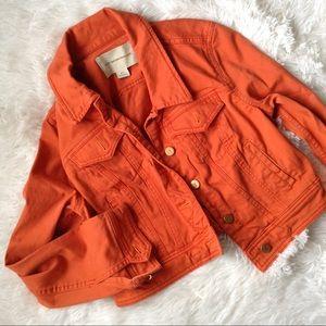 Anthropologie Jackets & Blazers - ANTHROPOLOGIE red-orange long sleeve jean jacket