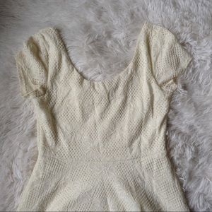 maitai Dresses & Skirts - MAITAI cream embossed boat neck skater dress