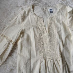 OLD NAVY cream long sleeve embroidered tunic dress
