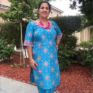 Dresses & Skirts - Blue silk Indian dress with block print