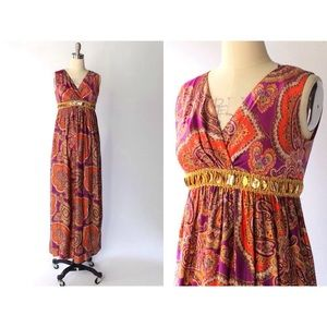 1960s Vintage Empire Waist Paisley Maxi Dress