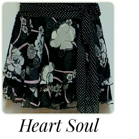 HeartSoul Skirts - Heart Soul Tiered Mini-Skirt Black White Size M