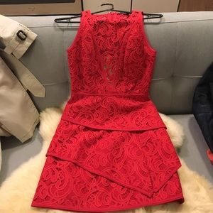 Bcbg red lace dress - like new now flaws