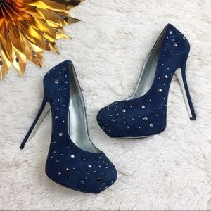 H by Halston Shoes - H by Halston Platform Studded Blue Suede Heels 8