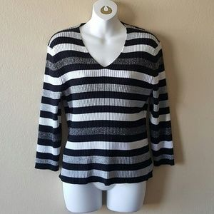 Vintage Shimmery Striped Sweater Top