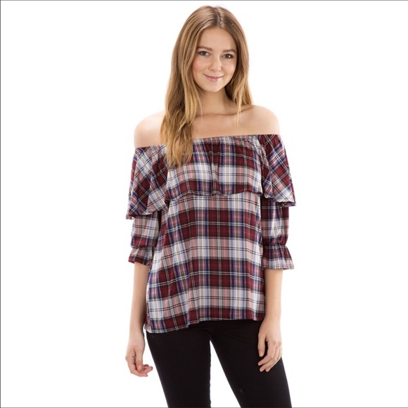 b21ef38307 Tops | Off Shoulder Plaid Top With Ruffle | Poshmark