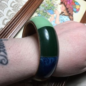 Vintage 60s Inlay Brass Bangle