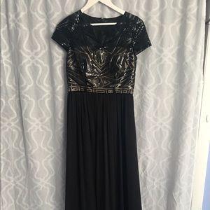 Black and Beige Prom Dress