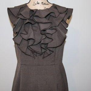 Soho Apparel Dresses & Skirts - SOHO Herringbone brown ruffled front dress sz 10