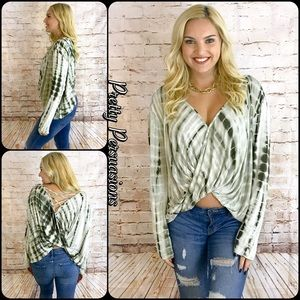 Pretty Persuasions Tops - NWT Olive Tie Dyed Surplice Front Jersey Top