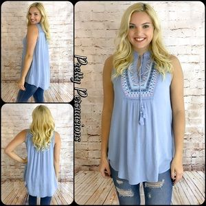 Pretty Persuasions Tops - Blue Embroidered Tassel Tie & Lace Accented Top