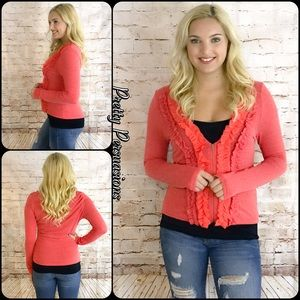 Pretty Persuasions Sweaters - NWT Ruffled Zip Front Spring Summer Cardigan