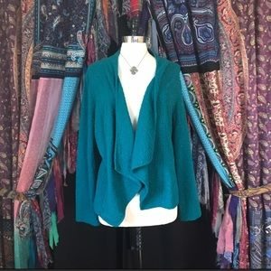 Chico's Sweaters - Chico's green open front textured cardigan sweater