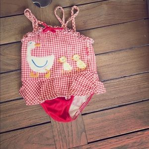 Le Top Other - LeTop Size 12m ducks, checkered, skirted swimsuit