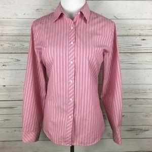 Foxcroft Tops - FOXCROFT Pink Striped Button Down Shirt