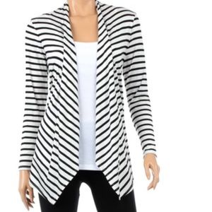 Rags and Couture Sweaters - Drape Stripped Cardigan NWOT Ivory/Black SIZE XL