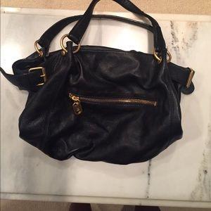 Lines Pelle shoulder strapped satchel tote bag
