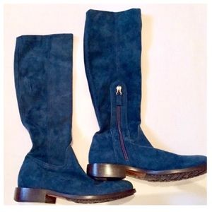 MOSCHINO Teal Suede Boots! New! Stretch Boots