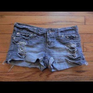YNQ Pants - YNQ Silver Gray Distressed Denim Shorts Sz 3