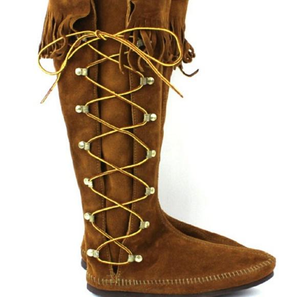 Side Lace Up Fringe High Boots